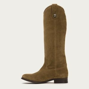 Frye Melissa button suede 10  boots gold cashew